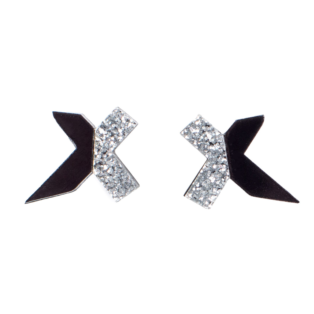 Black and Silver Stud Earrings - Exed