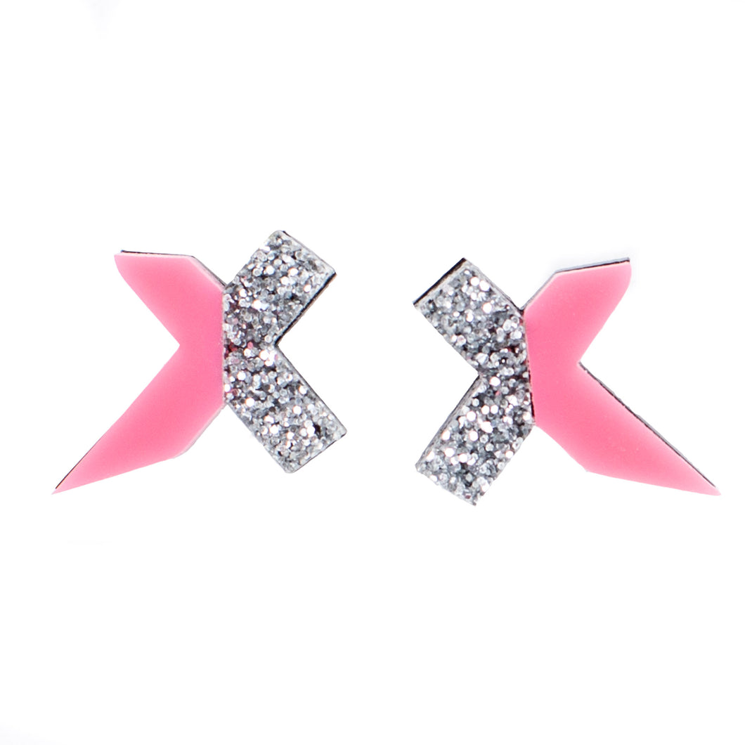 Pink and Silver Stud Earrings - Exed