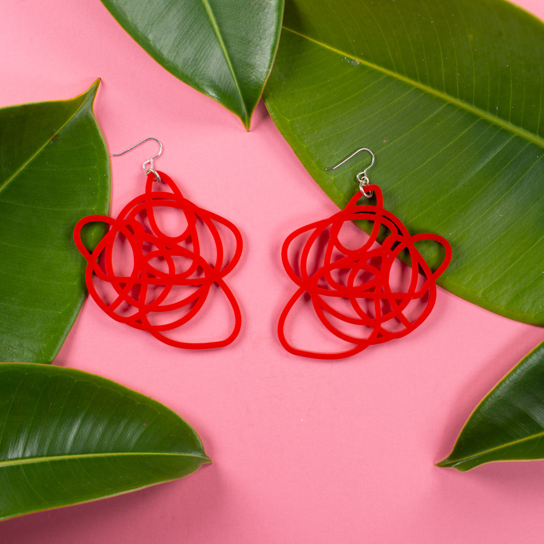 Red Statement Earrings -  Grande