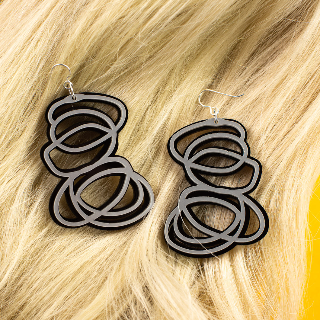 Janus Silver and Black Earrings