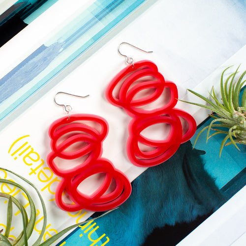 Janus Red and Pink Earrings