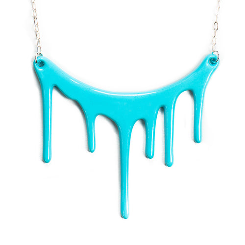 dripping blue statement necklace