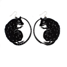 Large Black Rat Earrings / Gift for Rat Lover