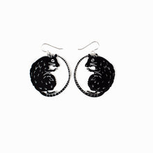 Load image into Gallery viewer, small black rat earrings on white background
