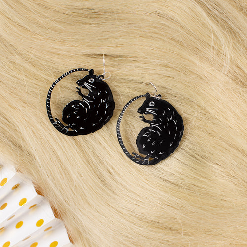 small black rat earrings