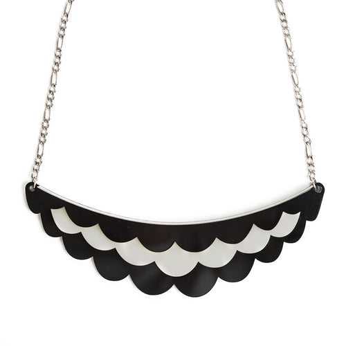 Black and White Necklace / Chunky Statement Necklace / Collar Necklace - Frilled