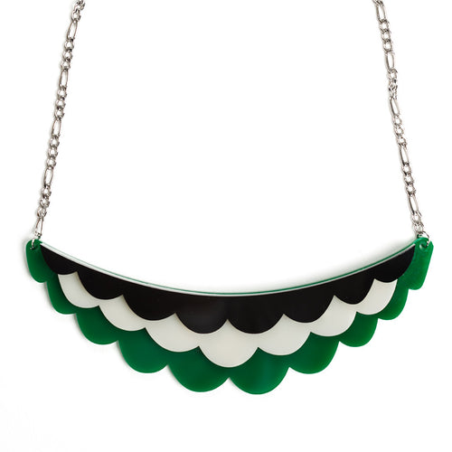 Frilled Necklace - Green, Black and Ivory