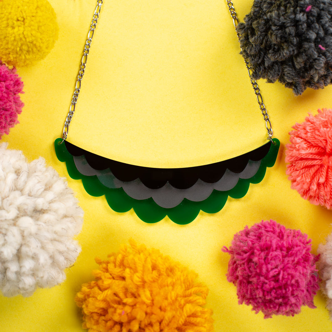 Frilled Necklace - Green, Black and Pink
