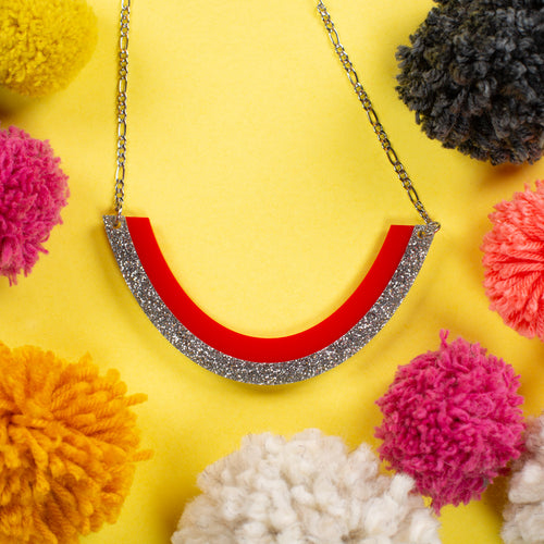 Silver and Red Necklace / Chunky Necklace / Chunky Statement Necklace - Smile
