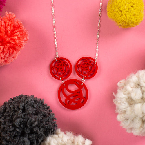 Red Three Circle Necklace - Trio