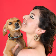 Load image into Gallery viewer, small wood dog earrings on model with chiweenie