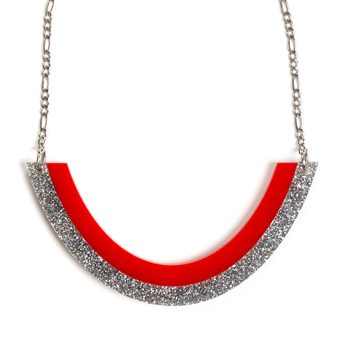 Smile Necklace - Red and Silver