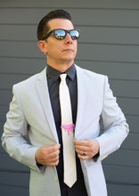 pink tie bar on model