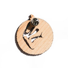 Load image into Gallery viewer, back of wood wolf pin