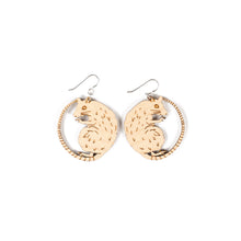 small wood rat earrings on white background