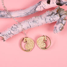 wood rat necklace and wood rat pin on pink background