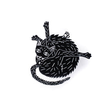 black cat pin over white background
