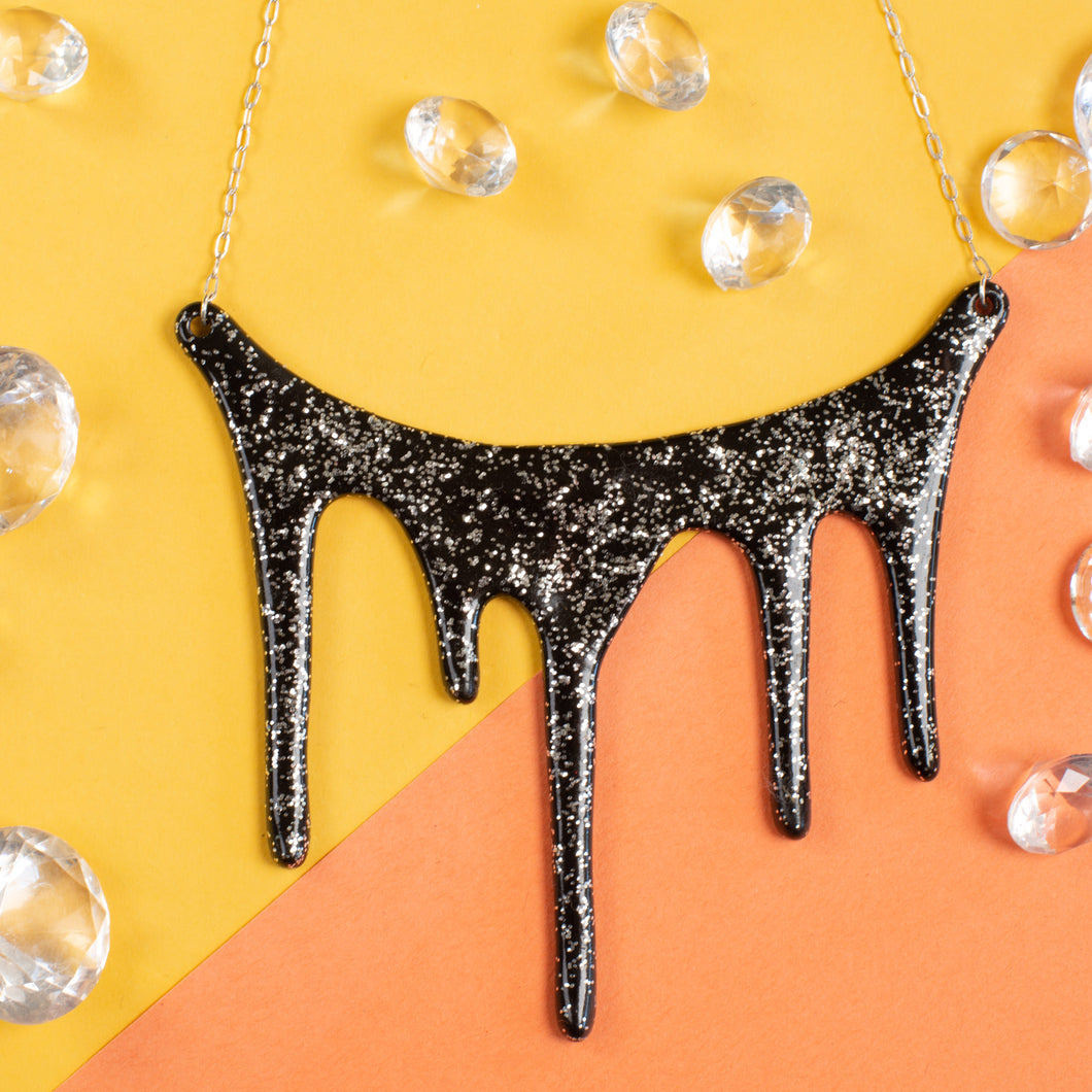 Drip black and silver glitter necklace styled