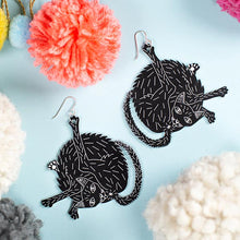 Load image into Gallery viewer, large black cat earrings styled