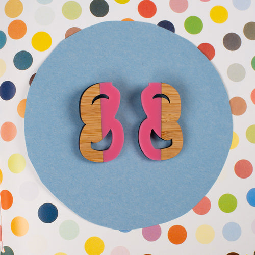 Pink and wood statement stud earrings