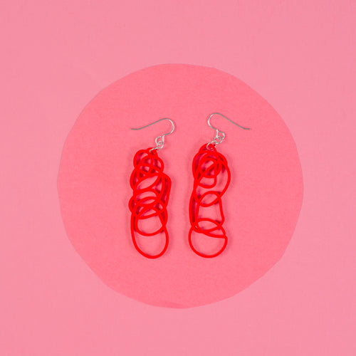 Red Dangle Earrings - Drawn Out