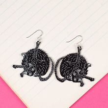 Load image into Gallery viewer, Small Black Cat Earrings