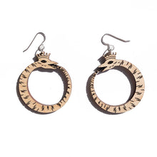 Load image into Gallery viewer, small wood ouroboros earrings on white background