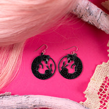 Load image into Gallery viewer, small black dog earrings on pink background