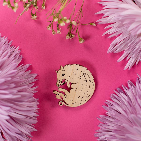 wood boar pin styled with flowers