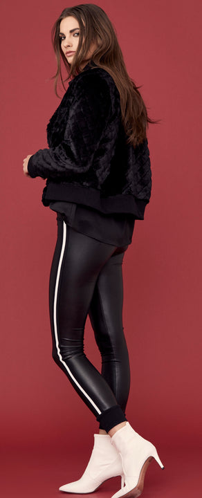 Cuffed Vegan Leather Leggings