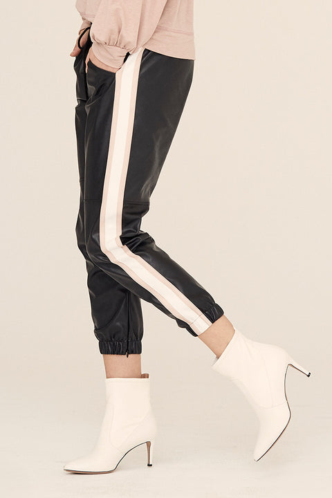Vegan Leather Jogger w/ Side Stripe