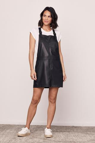 Vegan Leather Overall Dress