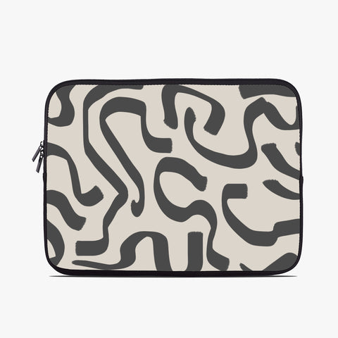 Abstract Greige Neoprene Laptop Case