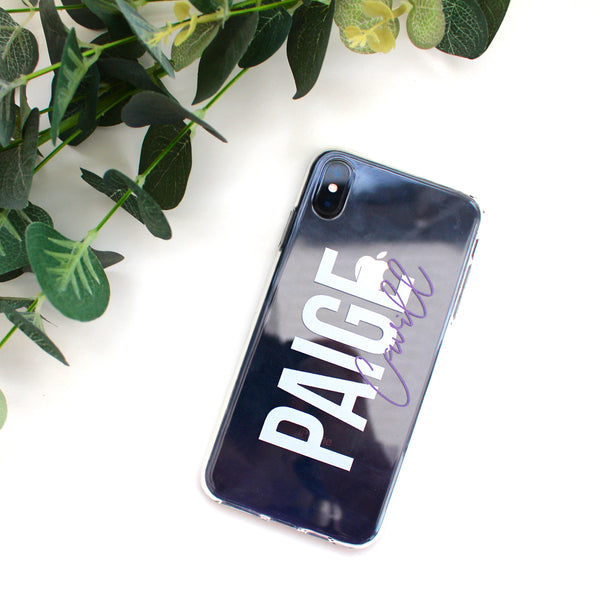 Lilac Personalised Transparent Silicone Phone Case