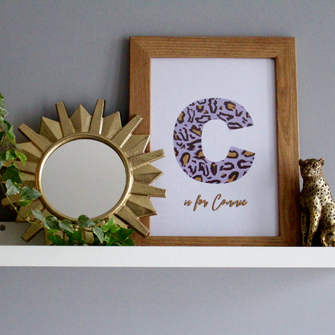 Lilac Leopard Personalised Letter Print