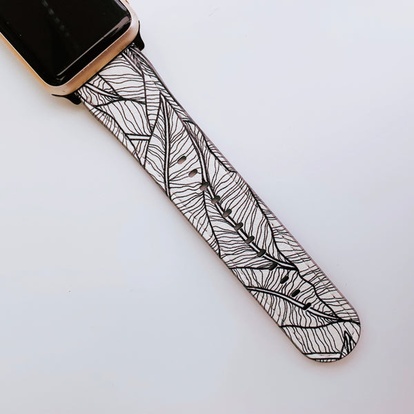 Botanical Leaf Vegan Leather Apple iWatch Strap