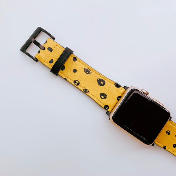 Mustard Yellow Spot Vegan Leather Apple iWatch Strap