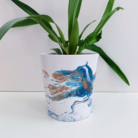 Blue and Copper Marble 13cm Ceramic Planter