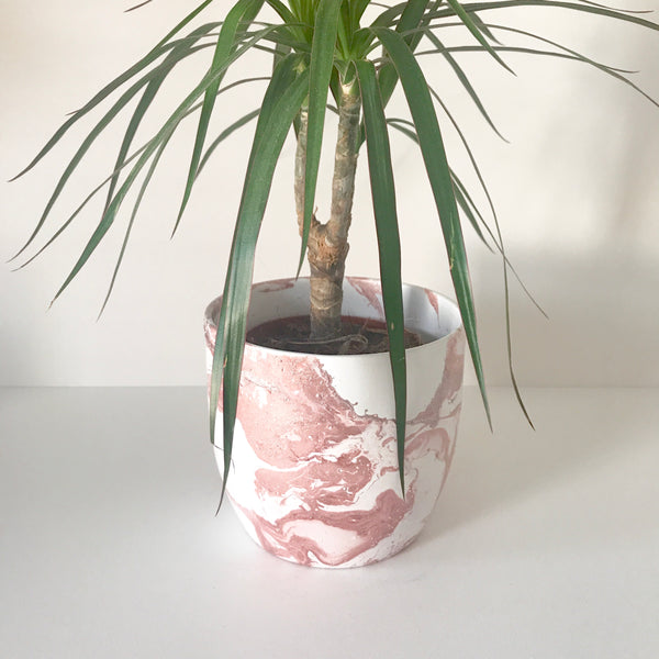 Rose Gold Marble Ceramic Plant Pot