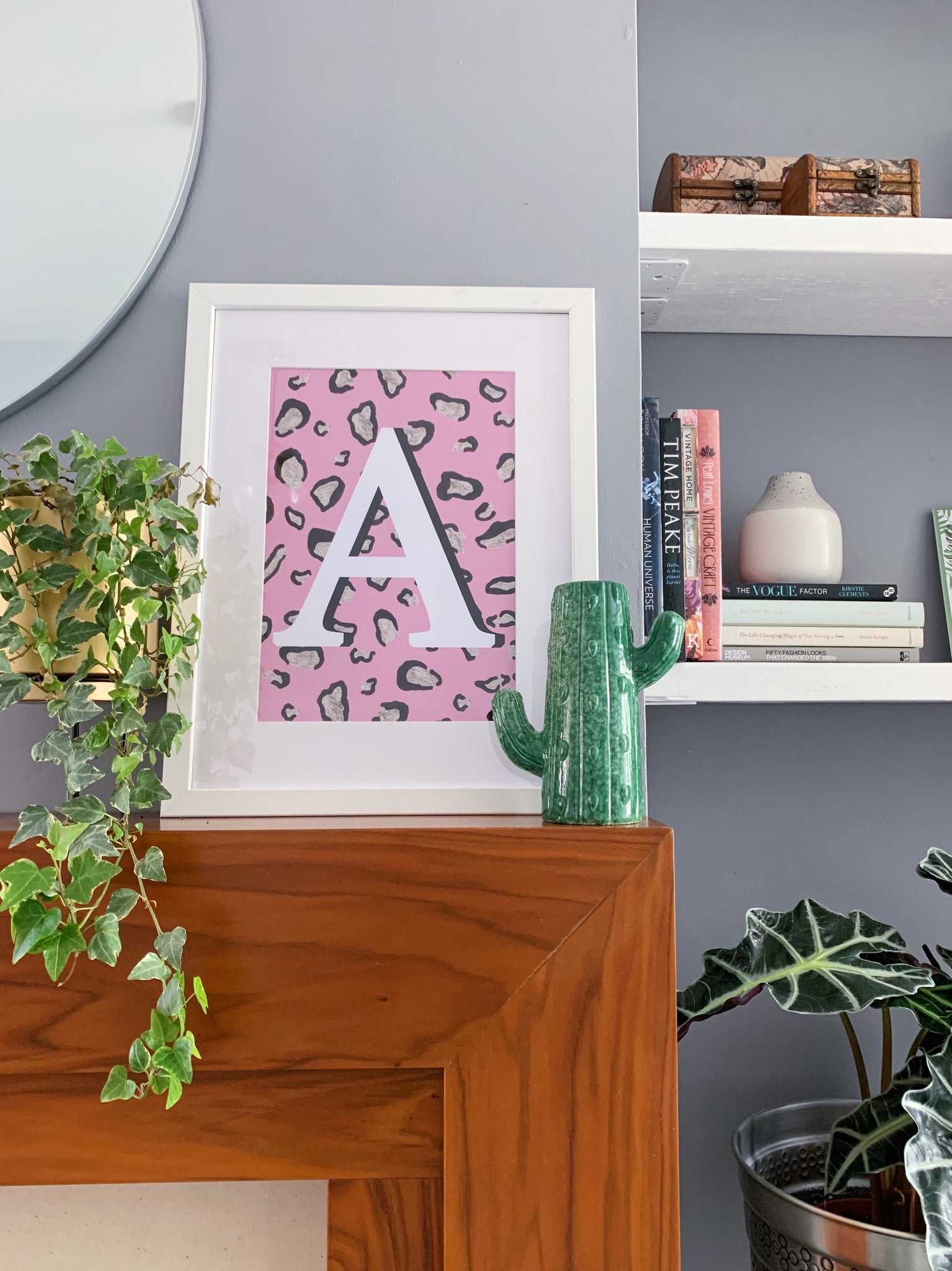 Pink Leopard Personalised Letter Print