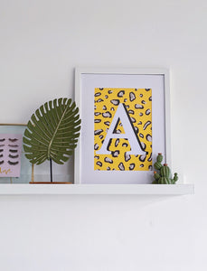Yellow Leopard Persoalised Letter Print