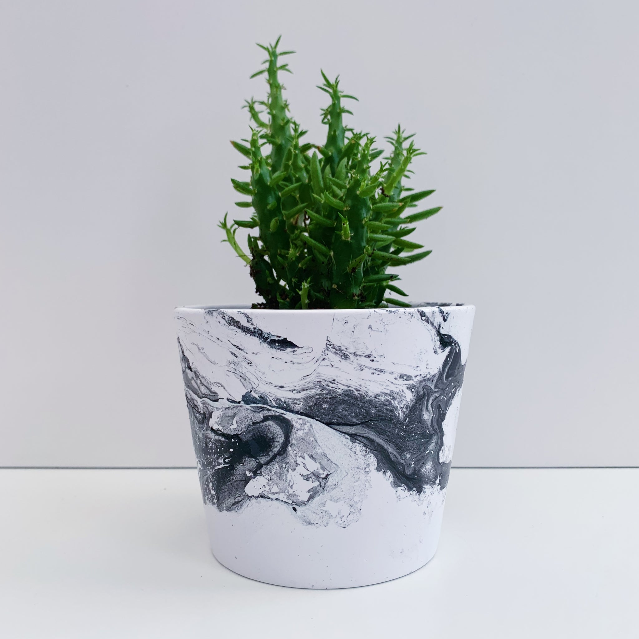 Monochrome Marble 10cm Ceramic Planter