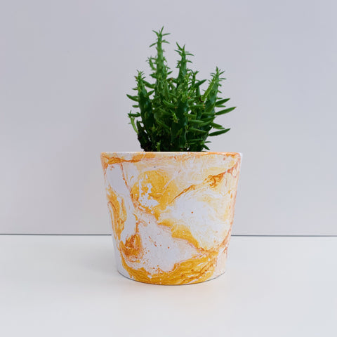 Mustard Yellow Marble 10cm Ceramic Planter