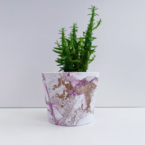 Lilac and Gold Marble 10cm Ceramic Planter