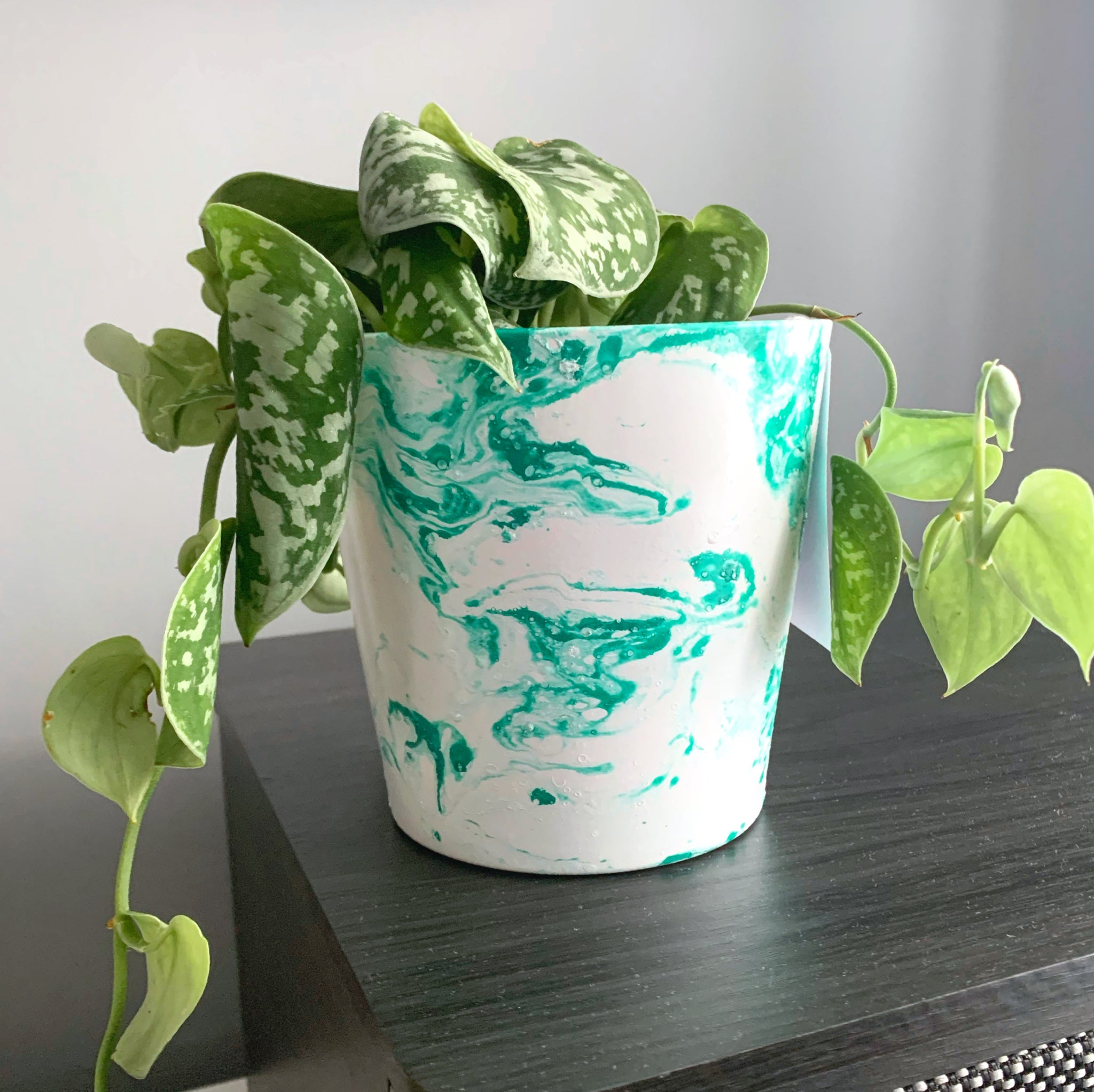 Teal Green Marble 13cm Ceramic Planter
