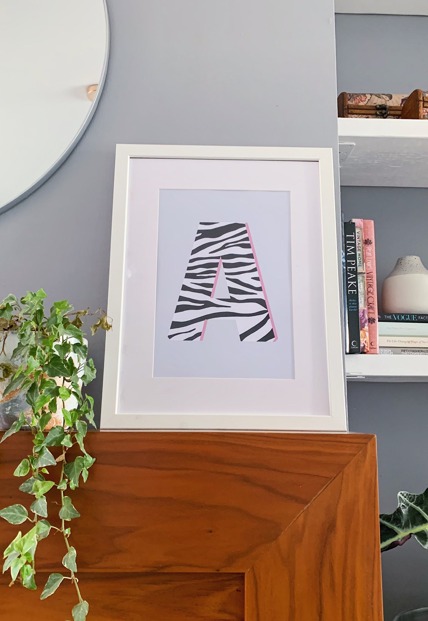 Pink Zebra Personalised Letter Print