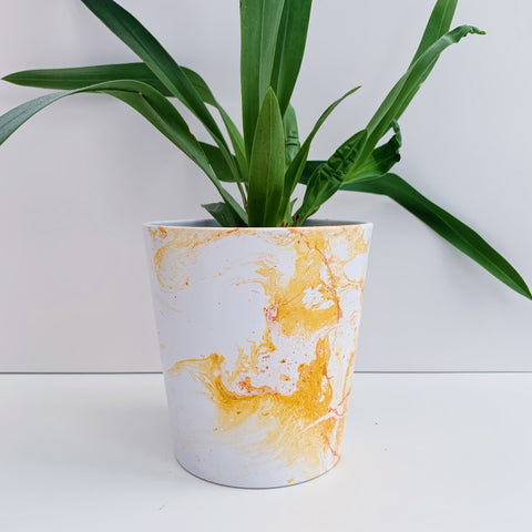Mustard Yellow Marble 13cm Ceramic Planter