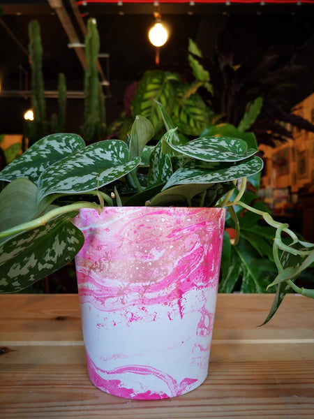 Hot Pink and Rose Gold Marble 13cm Ceramic Planter