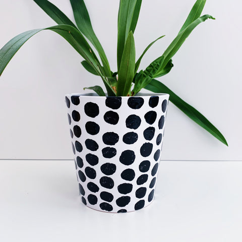 Hand Painted Monochrome Spot 13cm Ceramic Planter