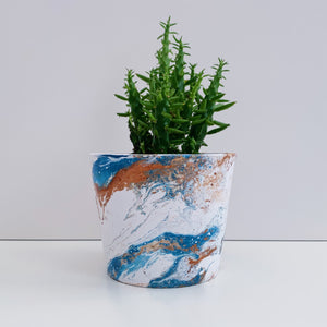 Blue and Copper Marble 10cm Ceramic Planter